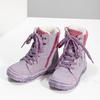 Dětská kožená kotníčková obuv s kožíškem mini-b, fialová, 296-9601 - 16