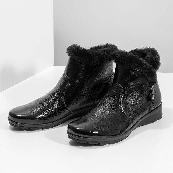 Dámská kožená kotníková obuv s kožíškem comfit, černá, 598-6605 - 16