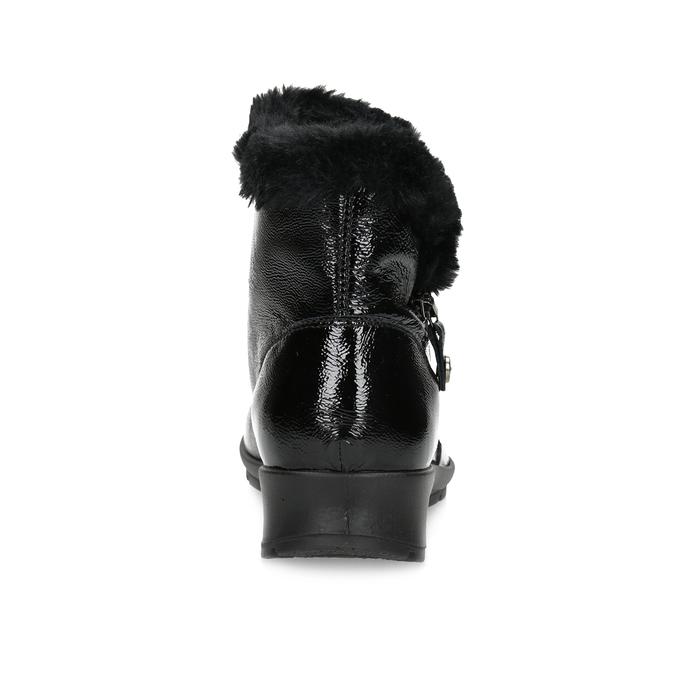 Dámská kožená kotníková obuv s kožíškem comfit, černá, 598-6605 - 15