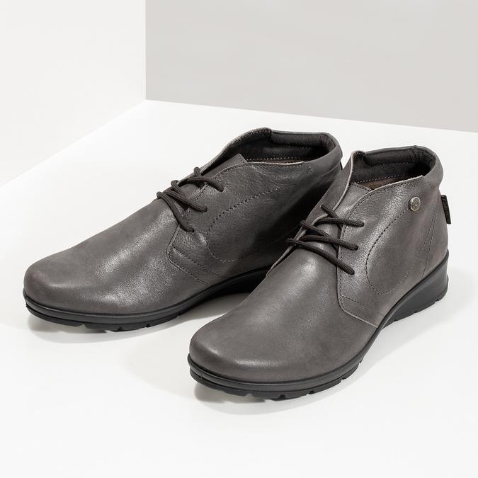 Dámská kožená kotníčková obuv comfit, hnědá, 596-4707 - 16