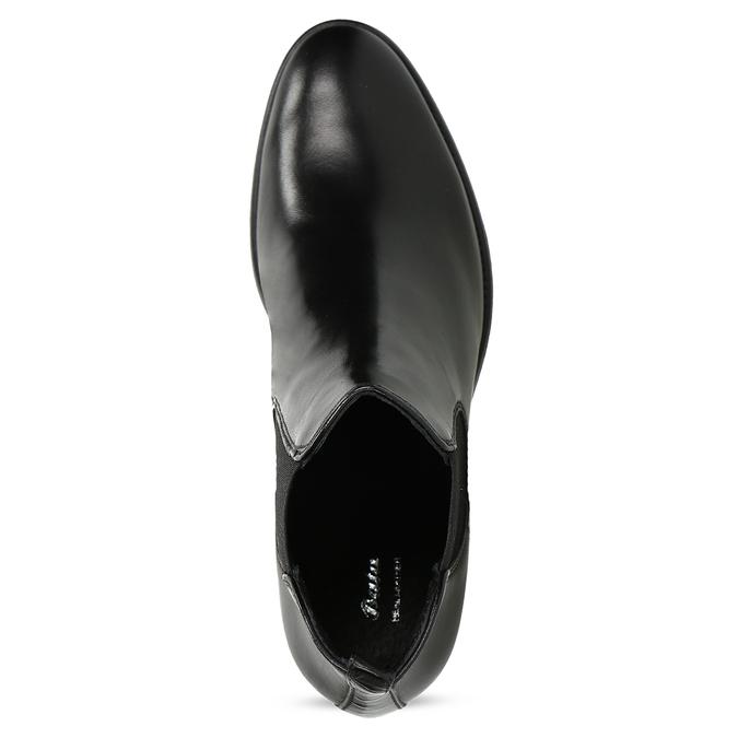 Kožené dámské Chelsea  na podpatku bata, černá, 694-6667 - 17