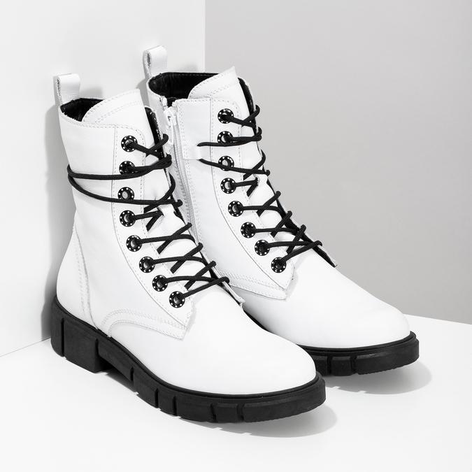 Dámská bílá kožená kotníčková obuv bata, bílá, 594-1709 - 26