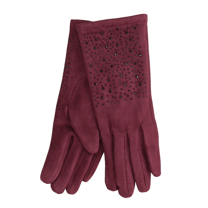 Vínové rukavice s kamínky bata, červená, 909-5692 - 13