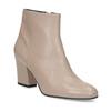 Krémová kožená kotníčková obuv na podpatku bata, béžová, 796-8654 - 13