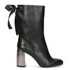 Kožené černé kozačky s metalickým podpatkem bata, černá, 796-6655 - 19