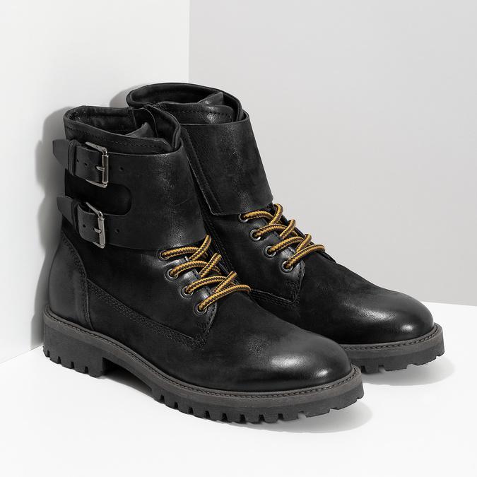 Pánská kožená zimní obuv černá bata, černá, 896-6735 - 26