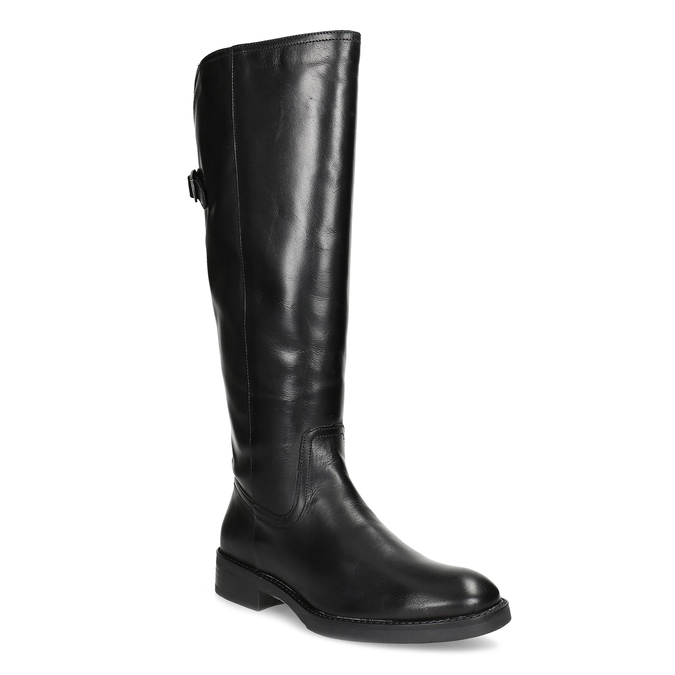Kožené černé kozačky s přezkou bata, černá, 594-6678 - 13