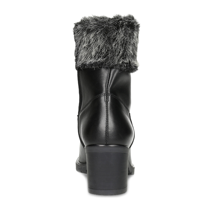 Kožené kotníčkové kozačky s kožíškem bata, černá, 696-6658 - 15
