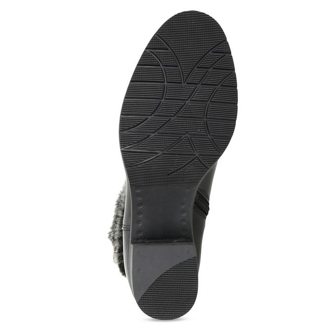 Kožené kotníčkové kozačky s kožíškem bata, černá, 696-6658 - 18