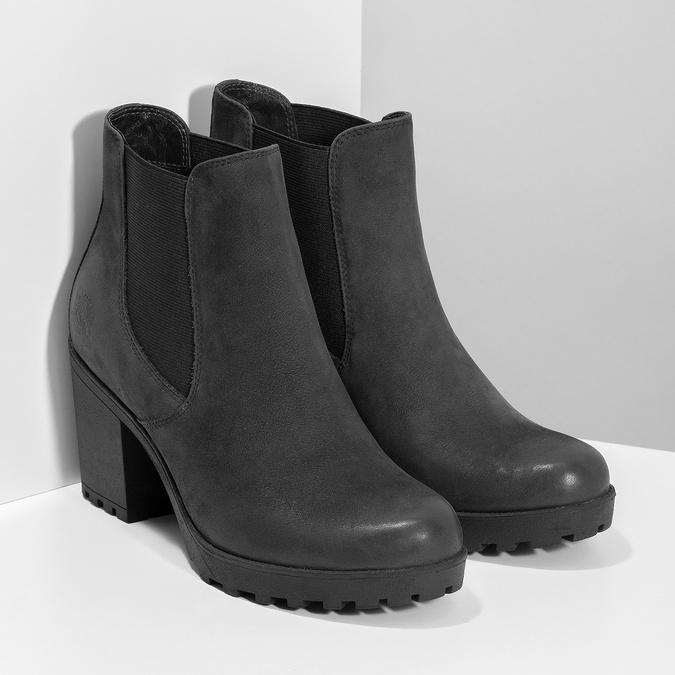 Kožená kotníčková obuv na stabilním podpatku bata, černá, 796-6652 - 26