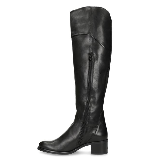 Kožené černé kozačky nad kolena bata, černá, 694-6666 - 17