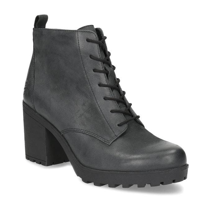 Dámská kožená kotníčková obuv se šněrováním bata, černá, 796-6653 - 13