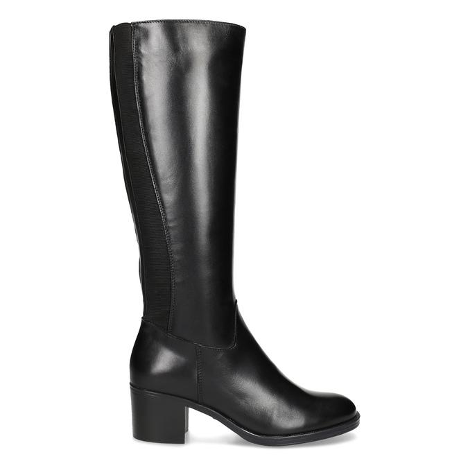 Kožené černé kozačky na stabilním podpatku bata, černá, 694-6668 - 19