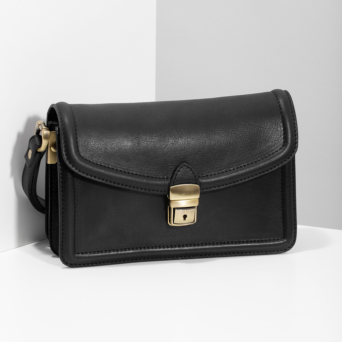 Černá pánská kožená taška do ruky bata, černá, 964-6315 - 17