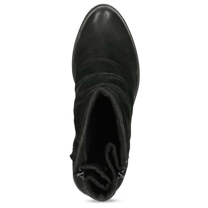Nízké kožené kozačky černé bata, černá, 696-6659 - 17