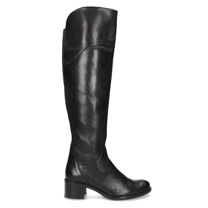 Kožené černé kozačky nad kolena bata, černá, 694-6666 - 19