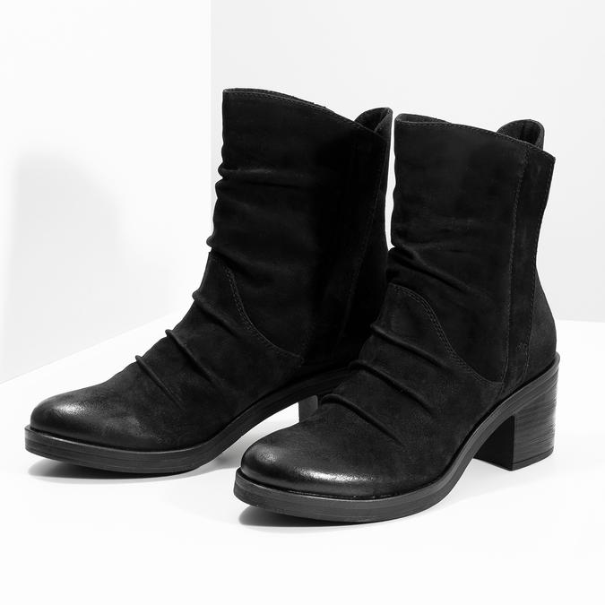 Nízké kožené kozačky černé bata, černá, 696-6659 - 16