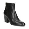 Kotníčkové kožené kozačky na stabilním podpatku bata, černá, 796-6654 - 13