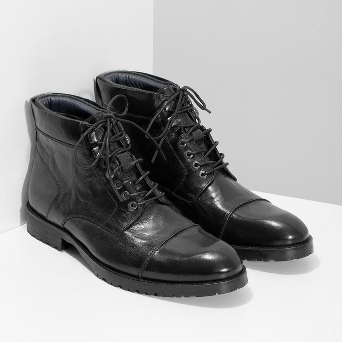 Pánská kotníčková obuv černá lesklá bata, černá, 896-6720 - 26
