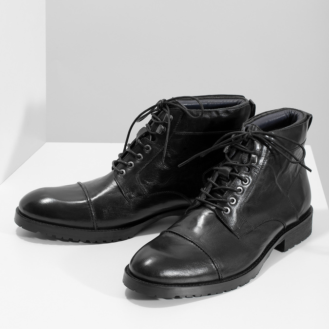 Pánská kotníčková obuv černá lesklá bata, černá, 896-6720 - 16