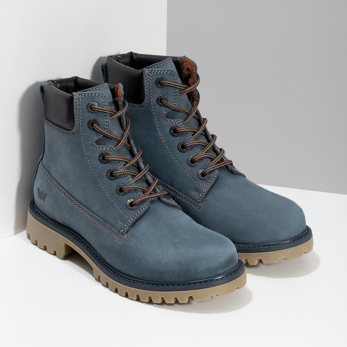 Modrá kožená dámská kotníčková obuv weinbrenner, modrá, 596-9728 - 26