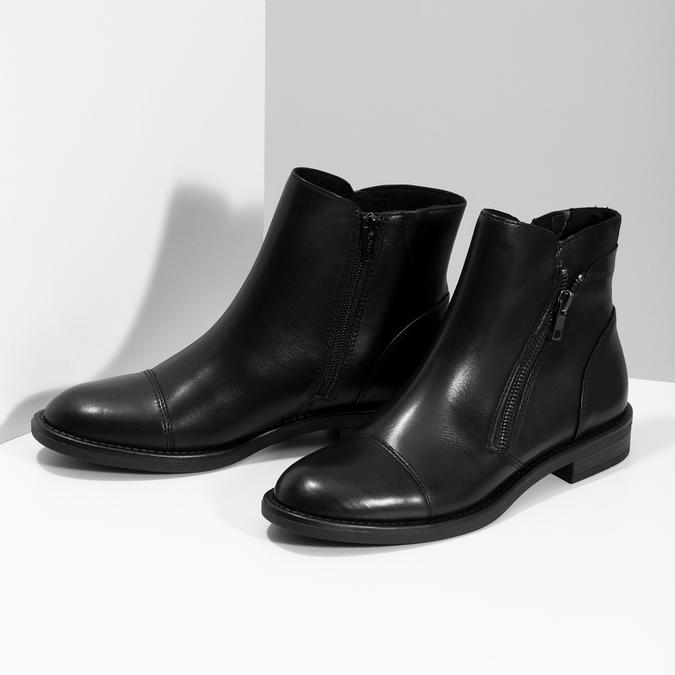 Kožená dámská kotníčková obuv bata, černá, 594-6711 - 16