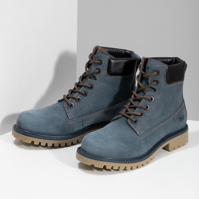 Modrá kožená dámská kotníčková obuv weinbrenner, modrá, 596-9728 - 16