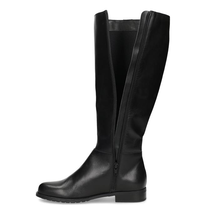 Kožené černé kozačky s kovovými cvoky bata, černá, 594-6712 - 17