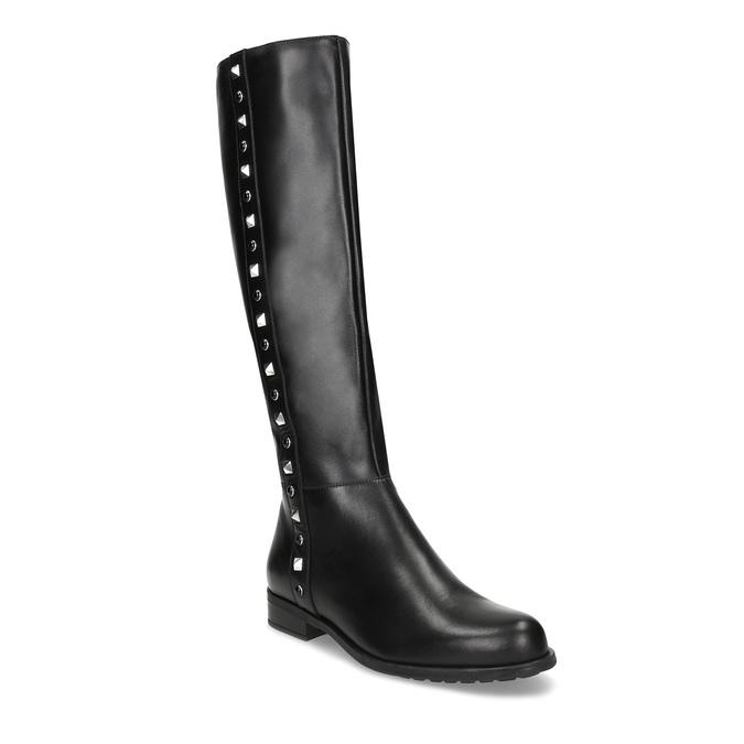 Kožené černé kozačky s kovovými cvoky bata, černá, 594-6712 - 13