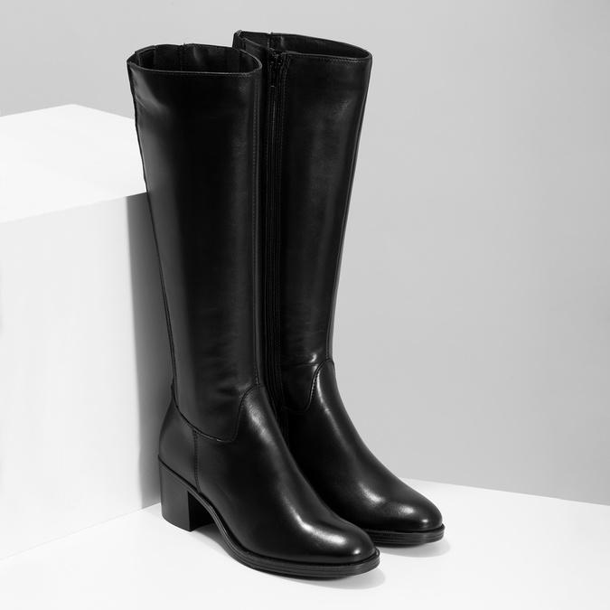 Kožené černé kozačky na stabilním podpatku bata, černá, 694-6668 - 26