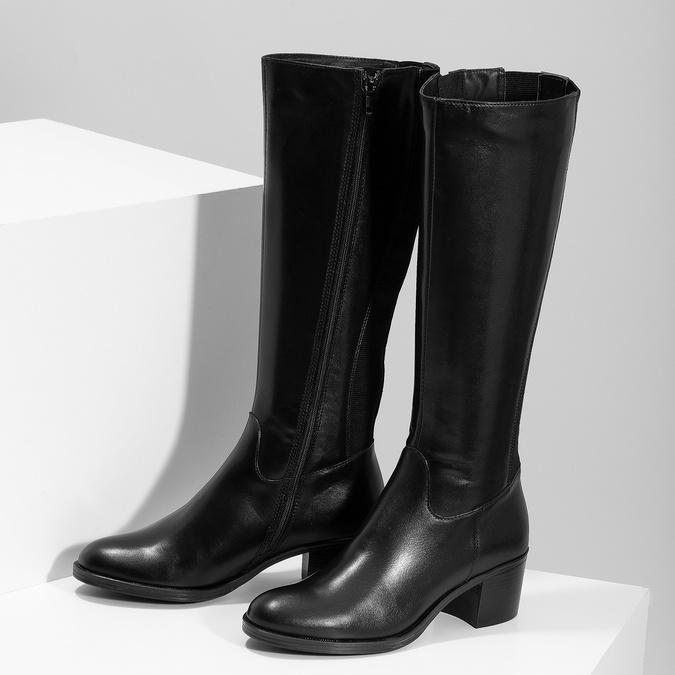 Kožené černé kozačky na stabilním podpatku bata, černá, 694-6668 - 16