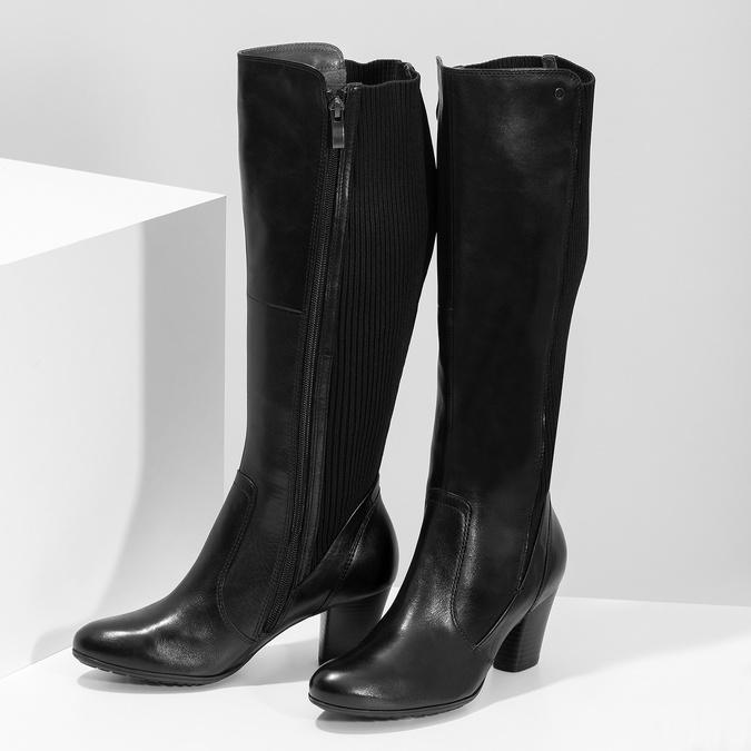 Kožené černé dámské kozačky s úpletem, černá, 696-6657 - 16