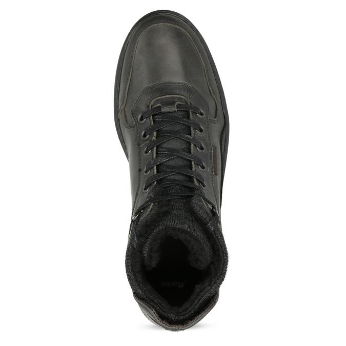 Černá pánská kožená kotníková obuv bata, černá, 896-6712 - 17