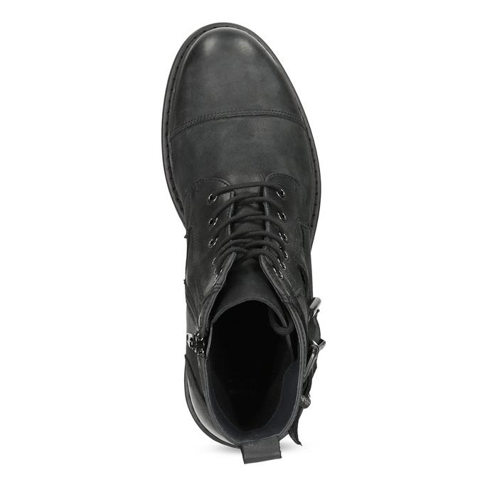 Kožená pánská kotníčková obuv s přezkami bata, černá, 896-6715 - 17