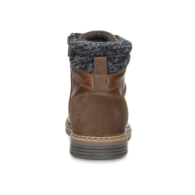Kožená pánská kotníková obuv hnědá bata, hnědá, 896-3713 - 15