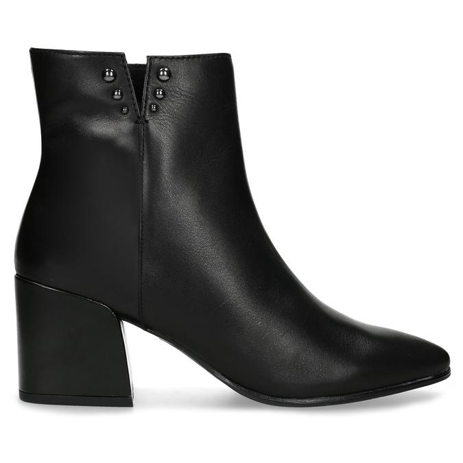 Černá kotníčková kožená obuv na podpatku bata, černá, 794-6658 - 19