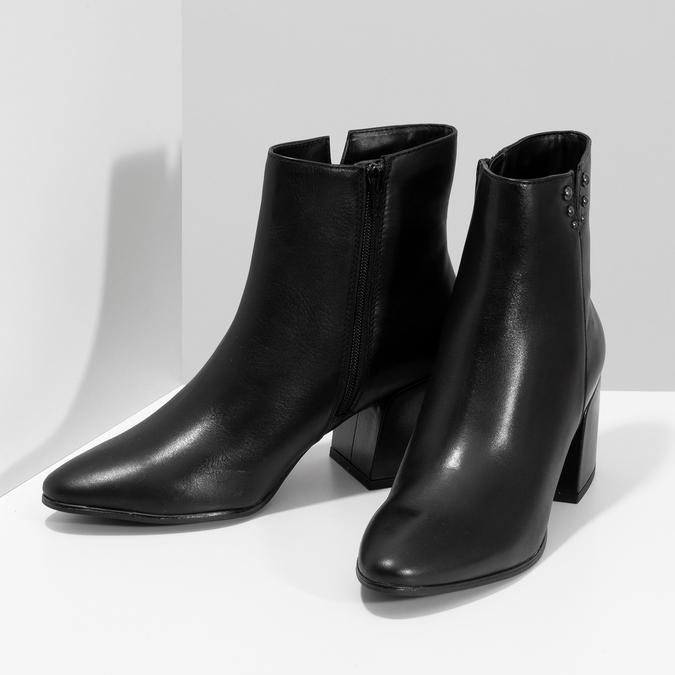 Černá kotníčková kožená obuv na podpatku bata, černá, 794-6658 - 16