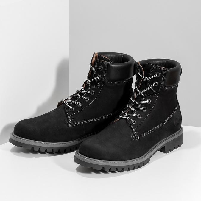 Pánská kožená kotníčková obuv s prošitím weinbrenner, černá, 896-6733 - 16