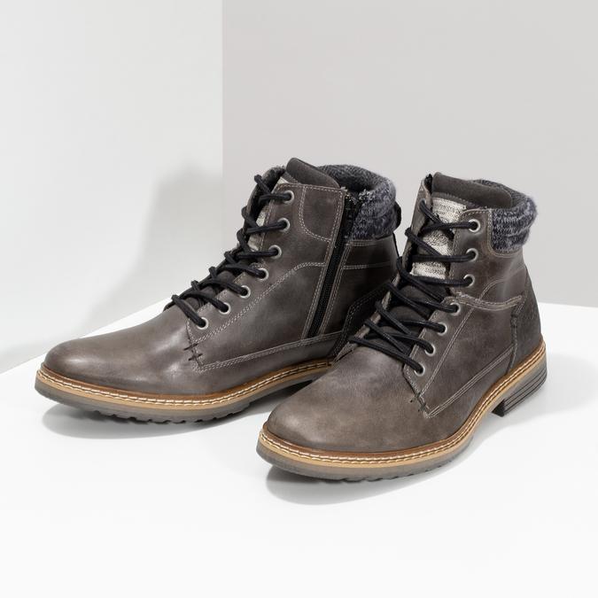 Kožená pánská kotníková obuv s úpletem bata, šedá, 896-2713 - 16