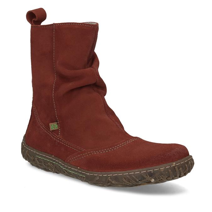 c429a2835 Kotníčková kožená obuv v cihlové barvě el-naturalista, červená, 616-5074 -