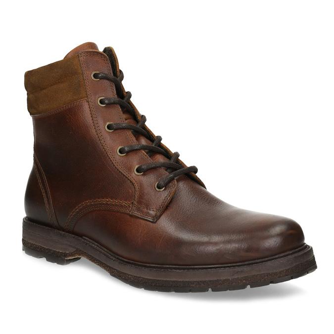 Hnědá pánská kožená zimní obuv bata, hnědá, 896-3732 - 13