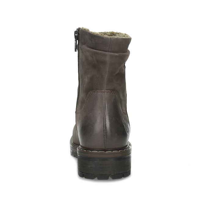 Hnědé dámské kožené zimní kozačky bata, hnědá, 596-4703 - 15