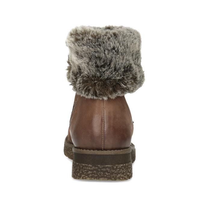 Kožená zimní kotníčková obuv s kožíškem bata, hnědá, 594-4704 - 15