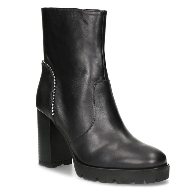 Kožená kotníčková obuv s kovovou aplikací bata, černá, 796-9665 - 13
