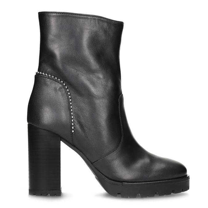Kožená kotníčková obuv s kovovou aplikací bata, černá, 796-9665 - 19