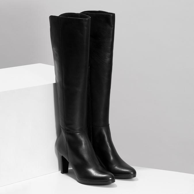 Kožené kozačky na podpatku černé bata, černá, 794-6657 - 26
