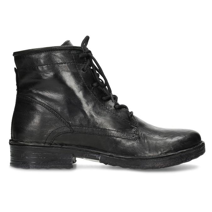 Dámská kožená kotníčková obuv se šněrováním bata, černá, 596-6740 - 19