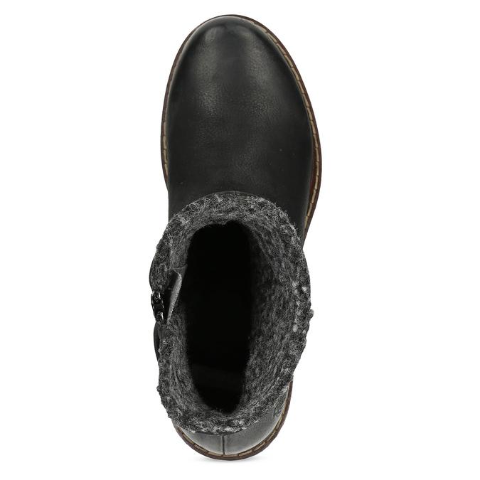 Kožené dámské zimní kozačky se zateplením bata, černá, 596-6703 - 17