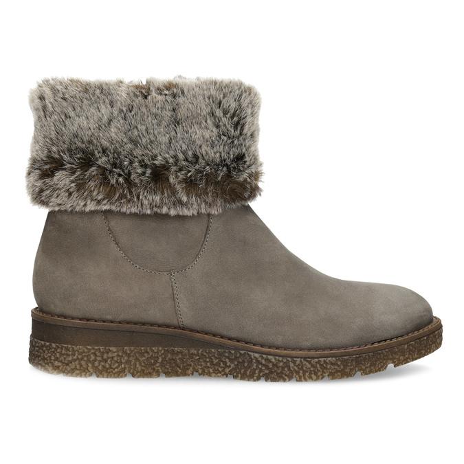 Dámská kožená zimní obuv s kožíškem bata, hnědá, 596-8704 - 19