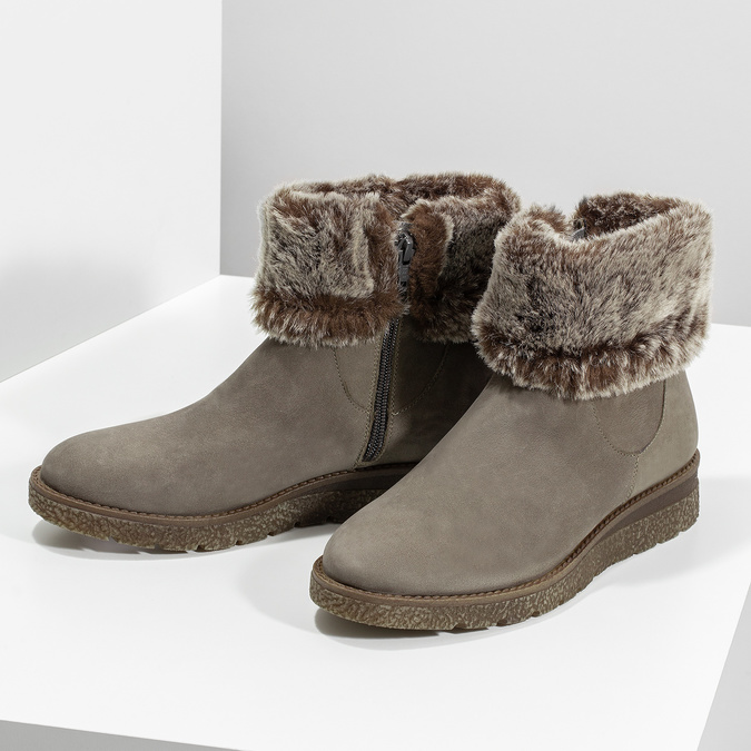 Dámská kožená zimní obuv s kožíškem bata, hnědá, 596-8704 - 16